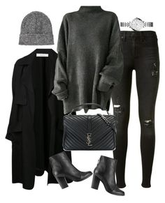 """Untitled #2167"" by sarah-ihab ❤ liked on Polyvore featuring A.L.C., rag & bone, Topshop, FOSSIL and Yves Saint Laurent"