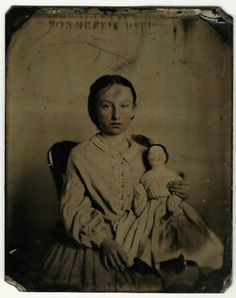 Tintype Girl Holds China Doll Antq Image Tinted Cheeks 1800s | eBay