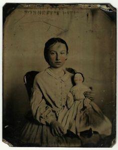 Tintype Girl Holds China Doll Antq Image Tinted Cheeks 1800s | eBay