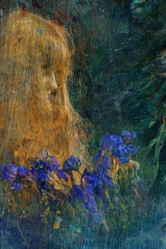 Edgar Maxence (French, 1871-1954). Portrait of a Girl with Iris Flowers