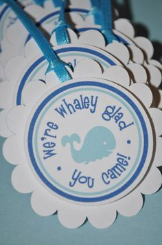 12 Whale Party Favor Tags - Baby Shower or Birthday. $10.00, via Etsy.