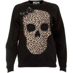 Alice Takes a Trip Black Skull Sweater ($25) ❤ liked on Polyvore featuring tops, sweaters, blusa, leopard top, skull sweaters, leopard print jumper, bow sweater and bow top