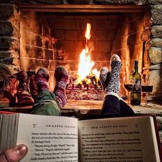 Wood socks, wine, fire, books, bliss.