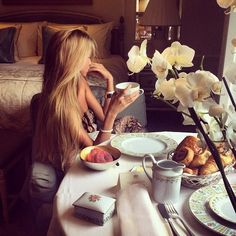 """Brunch in Paris. I always dreamed that my sister & I would own an apartment in Paris that we could just """"pop over to """" for """"le weekend"""". Sophistication & indulgence with a joy de vivre!!! Maybe...still time...Never say never. xxxxxxxxxx"""