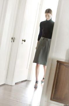 Annina Mislin Photo | Turtleneck, J.Crew; Grey skirt, Balenciaga; Shoes, Nicholas Kirkwood