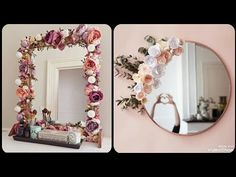 Beautiful mirror decoration ideas with simple flowers and lights Diy Mirror With Lights, Lights Around Mirror, Flower Mirror, Diy Floral Mirror, Mirror Crafts, Beautiful Mirrors, Simple Flowers, Home And Deco, My New Room