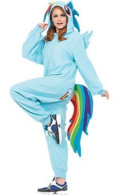 Adult Rainbow Dash One-Piece Costume Pajamas - My Little Pony