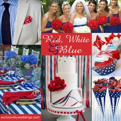 Red-white-and-blue-wedding - Fourth of July — a day of celebration — so why not celebrate your wedding on the 4th, too! Read more: http://blog.exclusivelyweddings.com/2012/07/01/fourth-of-july-wedding/