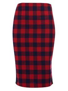 American Retro Kurt Red And Navy Contrast Checkered Skirt
