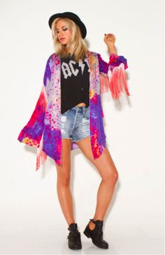 Channel the original 60s festival fashion in this tie-dye fringe jacket. It combines every festival trend we love into one great look! #Somedays coat via Market HQ, available at www.shopmarkethq.com