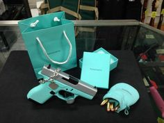 from Burberry for Christmas tiffany jewelry for women jewelry for love jewelry Charm bracelet #tiffany - not this exact one of course #jewelry #jewellery Tiffany...best necklace I've ever gotten Revolver, Pistol For Women, Handgun For Women, Tiffany Blue Pistol, Blue And, Arma 3, 380 Acp, Lcp 380, 2nd Amendment