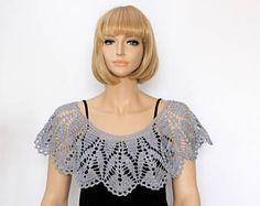 Bolero bolero corto Capelet envolver mantón gris capa hombro ganchillo chal cuello calentador Crochet capucha de mujer de la bufanda