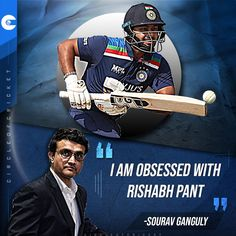 "BCCI President #SouravGanguly says he is ""obsessed"" with #RishabhPant. Cricket Quotes, Famous Quotes, Presidents, Sayings, Movies, Movie Posters, Famous Qoutes, Lyrics, Films"