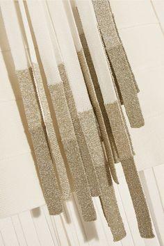 Hervé Léger - Fringed Dégradé Bandage Dress - White - medium