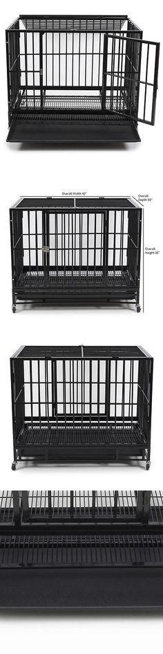 cages and crates 42 heavy duty black crate dog cage kennel portable pet playpen - Precision Pet Products