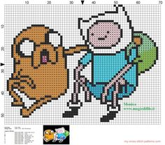 Jake and Finn 2 Adventure Time cross stitch pattern - free cross stitch patterns