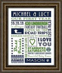Anniversary Gift  Wedding Gift  First by iNKYSQUIDSTUDIO on Etsy, $30.00