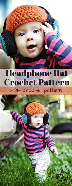 Headphone hat crochet pattern for download. Make this fun crochet beanie in any size, from newborn to adult! #etsy #ad
