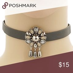 "❗CLEARANCE ❗Floral Vegan Leather Choker Brand new in packaging Floral crystal tear drop vegan leather Choker. Nickel and lead free. 12"" with 3"" extension. NO TRADES Bchic Jewelry Necklaces"