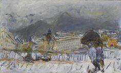 Jean Fusaro (né en 1925) Nice sous la pluie Huile sur toile. Signée Oeuvre D'art, Les Oeuvres, Artists, Nice, Painting, Modern Paintings, In The Rain, Oil On Canvas, Canvases