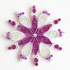 6 point magenta and white quilled snowflake | Bex | Flickr
