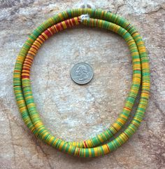 """8 mm Vintage Mixed Colour African Vinyl Disc Beads,African Vinyl,Vulcanite Beads,33""""(83.3 cm)Record Beads,African Beads,Mali Vinyl(032) by RedEarthBeads on Etsy"""