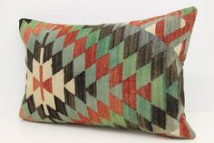 Handmade Kilim Pillow Cover 16 x 24 Wool Pillow Cover Chevron Pillow Handmade Pillow Embroidered Pillow Bolster Pillow Cushion Cover  F-214 by kilimwarehouse on Etsy