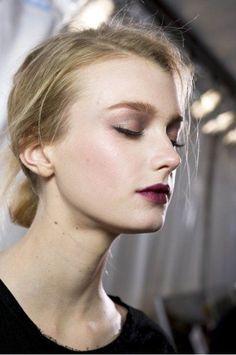 violet berry lips + pink-gray eyes // [Sigrid Agren]