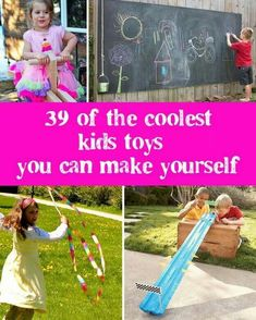 39 Coolest Kids Toys You Can Make Yourself. Tents Water Play, Doll House and Tool Bench from Repurposed Furniture, Some Simple Enough to do as Fun Activities with the Kids. DEFINITELY have it Handy for a Visit with the Relatives or Babysitting Gigs! Craft Activities For Kids, Diy Crafts For Kids, Toddler Activities, Projects For Kids, Games For Kids, Toddler Toys, Baby Crafts, Best Kids Toys, Children Toys