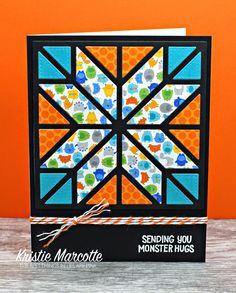 handmade quilt card: The best things in life are Pink ... bright and beautiful colors on a black background ... die cut star block ... gorgeous ... luv the sentiment ...