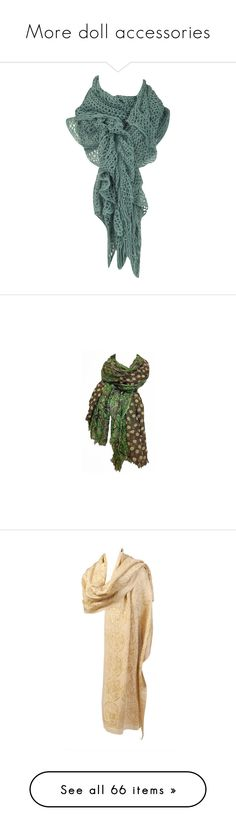 """""""More doll accessories"""" by mfoster07 ❤ liked on Polyvore featuring accessories, scarves, sciarpe, foulards, dorothy perkins, green scarves, crochet shawl, crochet scarves, green shawl and print scarves"""