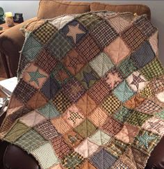 Primitive Star Rag Quilt Lap Quilts, Mini Quilts, Primitive Quilts, Primitive Bedding, Rag Quilt Patterns, Plaid Quilt, Potholders, Star, Bed Covers