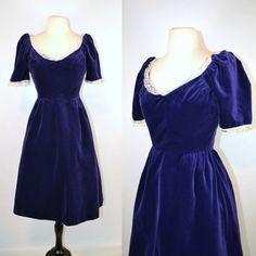 1970s Purple Velvet Tea Length Dress by by KrisVintageClothing