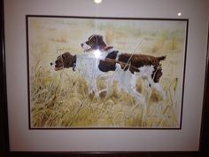Two liver Brittany spaniels  watercolor by Bruce prentice