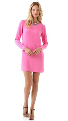 Tibi Solid Shift Dress Pretty #littlepinkdress for a #cure love the bright color