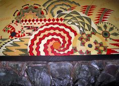 CA Indian basket-inspired mural above the stone fireplace mantle, Ahwahnee Hotel, Yosemite.