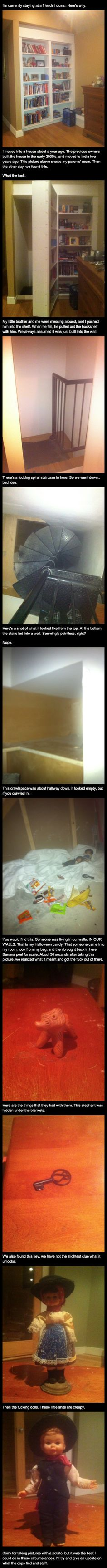 Wtf that is so creepy. It is cool that there's a secret room in your house but someone living there? That's beyond creepy! Satire, Scream, Creepy Stories, Horror Stories, Funny Stories, Lol, Creepypasta, Just For Laughs, Mind Blown