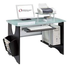 @Overstock - This sleek, modern computer desk offers a stylish accent to office spaces. The glass-topped desk features shelves designed specifically for computer accessories. A slide-out keyboard shelf and side magazine rack provide streamlined storage.http://www.overstock.com/Home-Garden/Espresso-Frosted-Tempered-Glass-Computer-Desk/2605137/product.html?CID=214117 $195.99