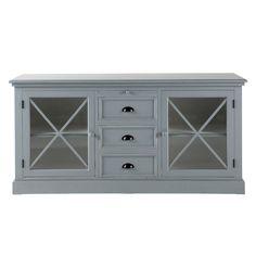 Grey wood glass-door buffet Newport