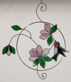 Stained Glass Suncatcher Hummingbird and Pink Flower by GLASSbits Stained Glass Suncatchers, Stained Glass Flowers, Stained Glass Panels, Stained Glass Projects, Leaded Glass, Stained Glass Art, Mosaic Glass, Glass Butterfly, Glass Animals
