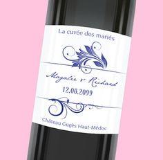 Etiquette de bouteille mariage personnalisable pour une cuvée des mariés inoubliable,  réf.N300967