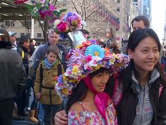 Pretty Easter Bonnet at the Fifth Ave Easter Parade.  If you've never been to NYC's Easter Parade you might be surprised to find out it's not your typical parade.  Everyone just walks up and down Fifth Ave and some are wearing fancy hats.