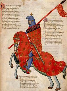 An Armed Knight of Prato (Tuscany) on Horseback Pacino di Buonaguida. 1335-40. Illumination from the Regia Carmina. Italian. British Library.