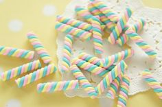 8 pcs Polymer Clay Twisted Candy Miniature 5mm 25mm by misssapporo