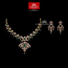 Ravishing Grandeur Jewellery Set The neckpiece exhibits grandeur and a beautiful aura. To complete the already ravishing look, spectacular matching earrings have been added. Necklace L : Inches; Emerald Jewelry, Gold Jewelry, Diamond Jewellery, Diamond Necklace Set, Stone Necklace, Gold Necklace, Gold Jewellery Design, Necklace Online, Bridal Jewelry