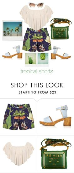 """Tropical Shorts"" by greensweetie ❤ liked on Polyvore featuring Penfield, Topshop, WearAll, Prada, Gucci, Summer, printedshorts and tropicalprints"