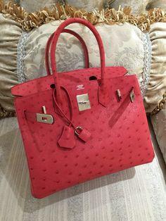 Sacs de Créateur - Hermes Bougainvillea Ostrich Leather 35cm Birkin Bag with…