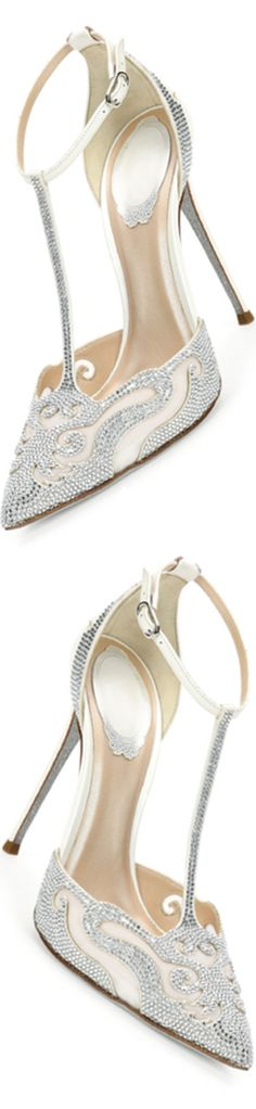 Rene Caovilla Crystal-Embellished T-Strap Evening Pump
