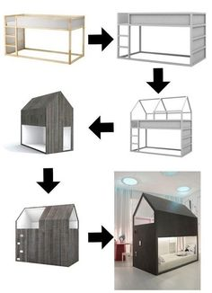 Convert IKEA Kura bed to a Little Forest House