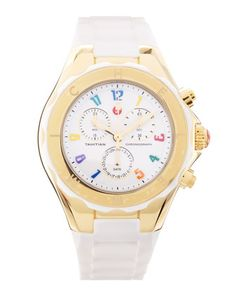 Tahitian Jelly Bean Carousel Watch, White/Yellow Gold by MICHELE at Neiman Marcus Last Call.